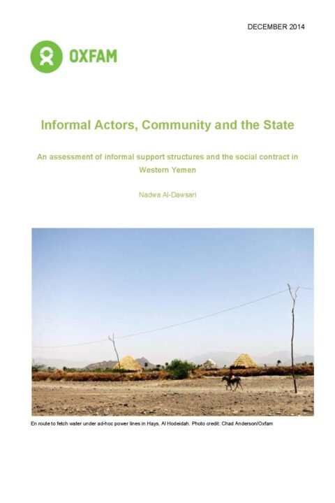 Informal Actors, Community and the State: An assessment of informal support structures and the social contract in Western Yemen