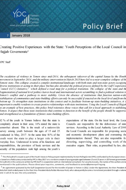 Creating Positive Experiences with the State: Youth Perceptions of the Local Council in Hajjah Governorate