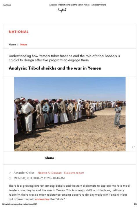 Analysis: Tribal sheikhs and the war in Yemen