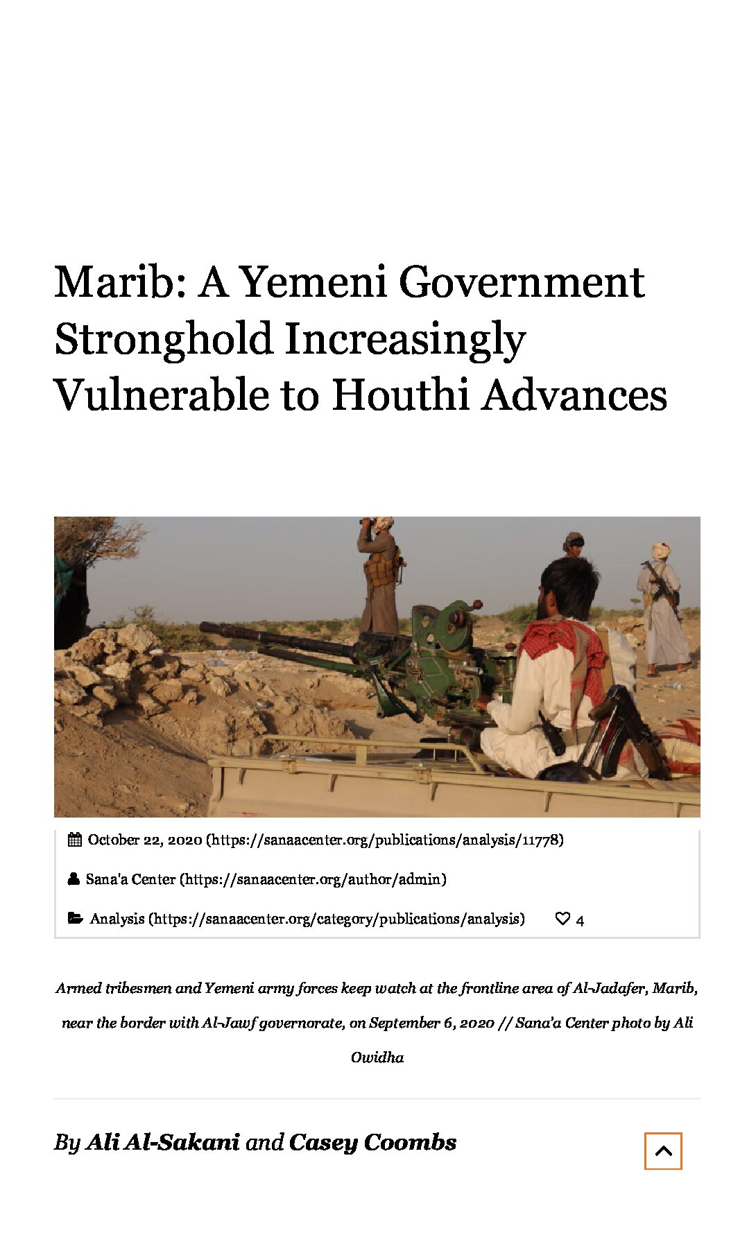 Marib: A Yemeni Government Stronghold Increasingly Vulnerable to Houthi Advances